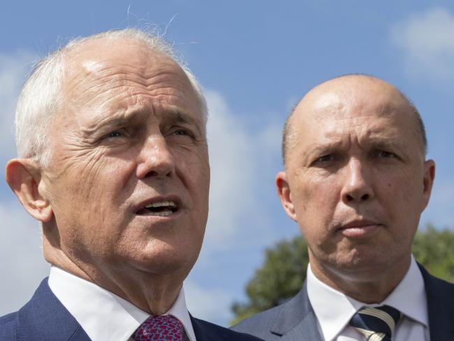 Peter Dutton, right, has been touted as a possible replacement for Malcolm Turnbull, but the Liberal Party insists it will not be changing Prime Minister following the damaging Newspoll. Picture: AAP Image/Glenn Hunt
