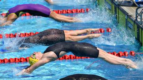 Emily Seebohm in action during the women's 50m backstroke heats at the Commonwealth Games.