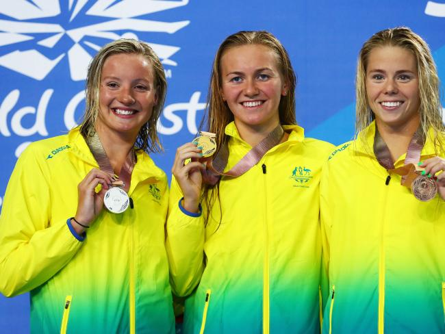 Silver medalist Jessica Ashwood of Australia, gold medalist Ariarne Titmus and bronze medalist Kiah Melverton