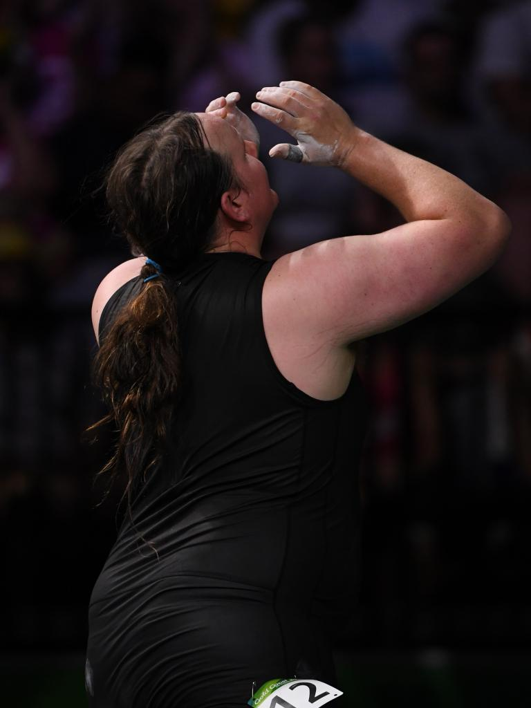Laurel Hubbard injures herself trying to lift 130kg at the Games.