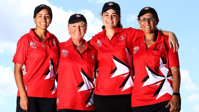 The Maltese lawn bowling team has exceeded its own expectations and will bowl for bronze today. The team consists of Connie-Leigh Rixon, Sharon Callus, Rebecca Rixon and Rosemaree Rixon (mum). Picture: Adam Head