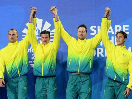 Cameron McEvoy, James Magnussen, Jack Cartwright and Kyle Chalmers celebrate their relay win on day two of the Gold Coast Games. Picture: Getty Images