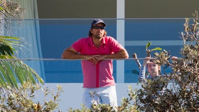 Pat Rafter on the deck soon after the home was completed. Picture: Media Mode.