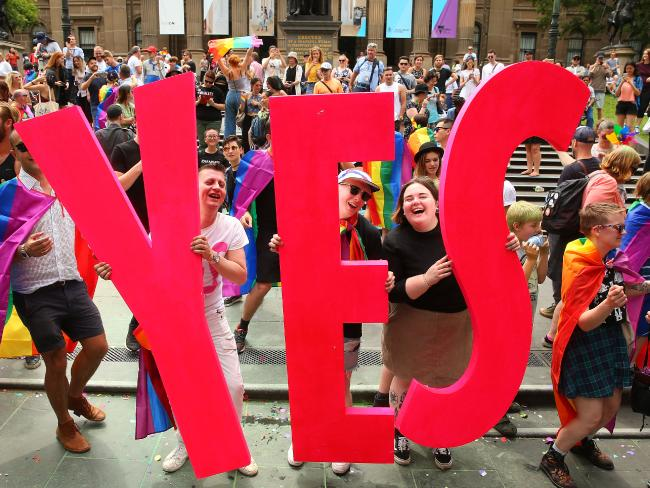 Melbourne celebrates as the same-sex marriage postal survey result is announced. Picture: Scott Barbour/Getty Images