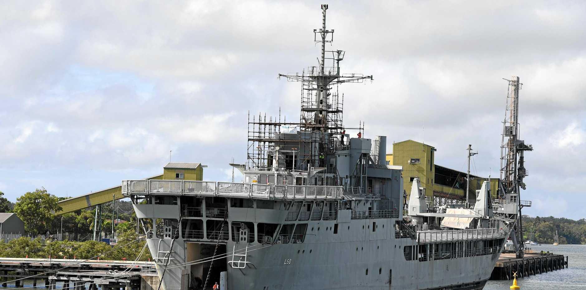 Ex-HMAS Tobruk at the Bundaberg Port.