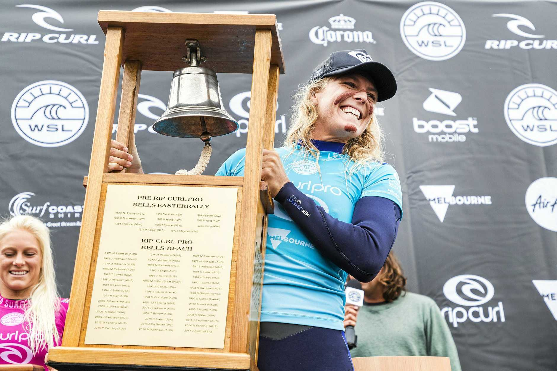 A supplied image obtained Thursday, April 5, 2018 of Stephanie Gilmore of Australia who won the final of the Rip Curl Pro at Bells Beach in Victoria, Thursday, April 5, 2018. (AAP Image/Supplied by World Surf League, Kelly Cestari) NO ARCHIVING, EDITORIAL USE ONLY