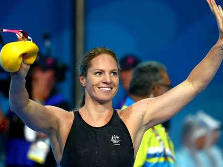 Emily Seebohm of Australia celebrates victory in the Women's 50m Backstroke Final