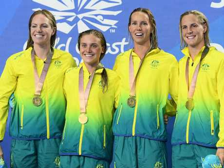 Gold medalists Emily Seebohm, Georgia Bohl, Emma McKeon and Bronte Campbell