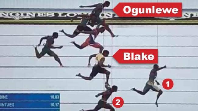 It was a polarising end to the men's 100m. Yohan Blake (bottom circle) won the bronze medal over Nigerian Seye Ogunlewe (top circle).