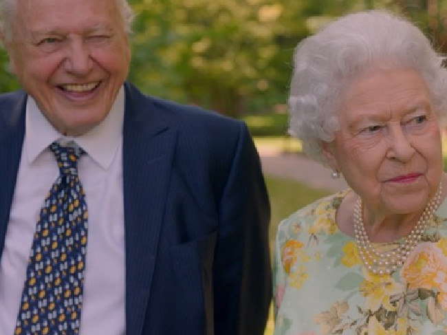 The Queen and Sir David Attenbrough are born three weeks apart. Picture: ITV/The Queen's Green Planet.