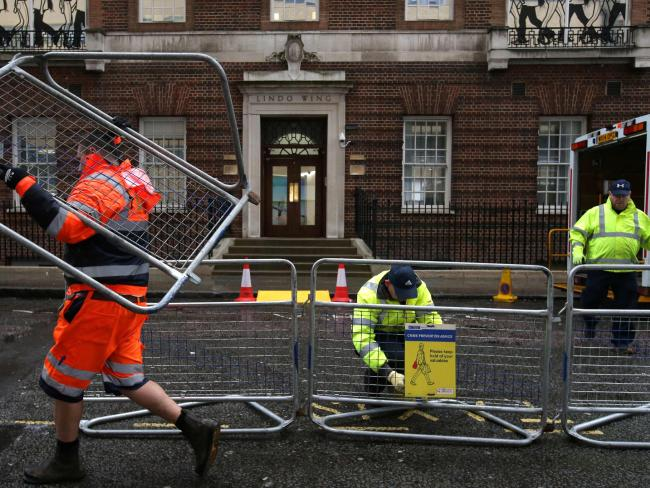 Crowd barriers are erected opposite the private Lindo Wing of St Mary's Hospital, in central London on April 9, 2018. Picture: AFP