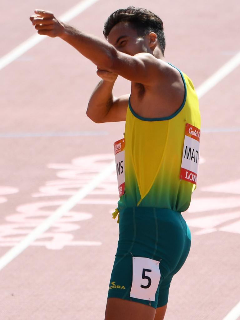 Luke Mathews of Australia celebrates after qualifying in the Men's 800m Heats.