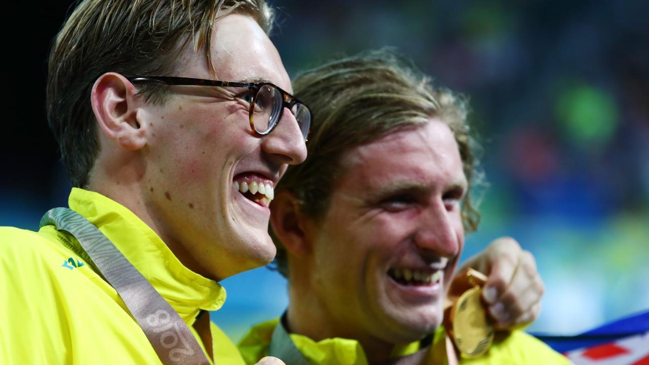 Bronze medallist Mack Horton (left) and gold medallist Jack McLoughlin on Tuesday night.