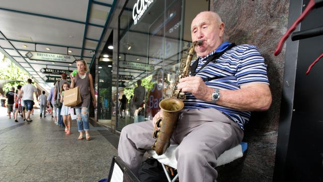 Graham Pampling, the blind sax player has been busking in the Queen St Mall for 30 years, on Saturday March 31, 2018 (AAP Image/Steve Pohlner)