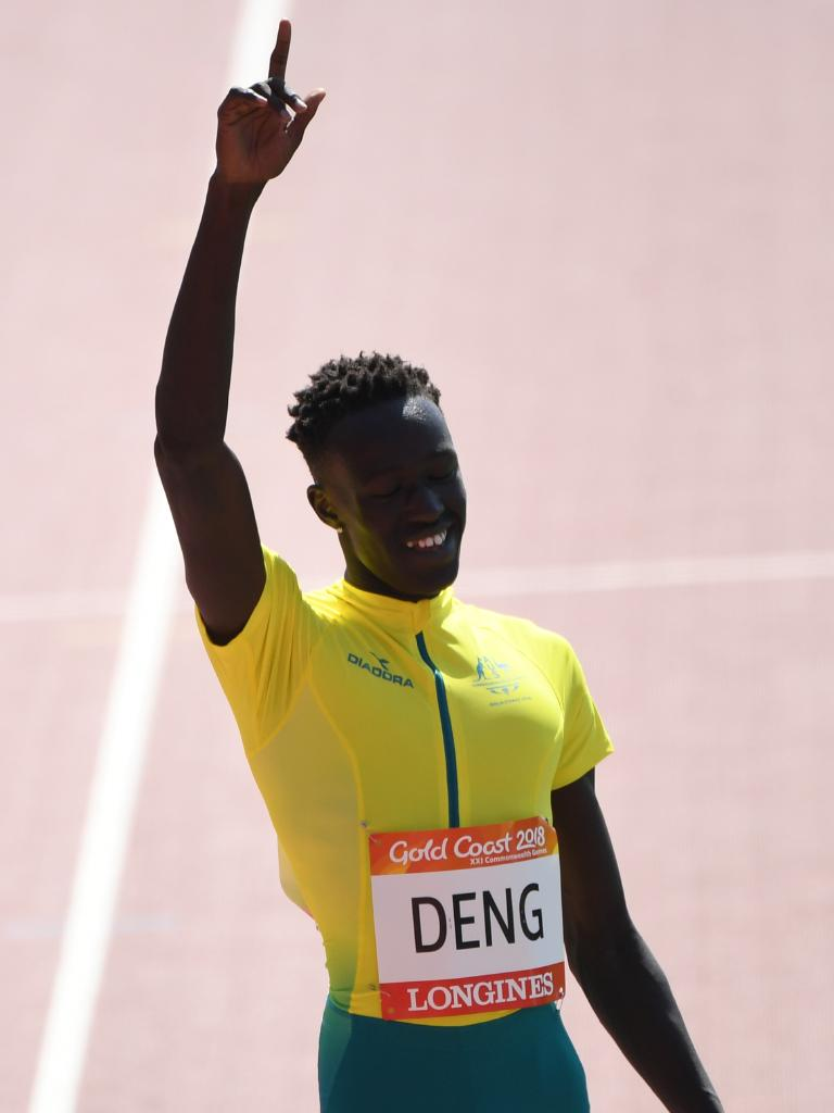 Joeseph Deng waves to the crowd after the Men's 800m Heats.