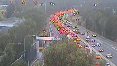 Heavy traffic following the fatal crash at Bankstown.