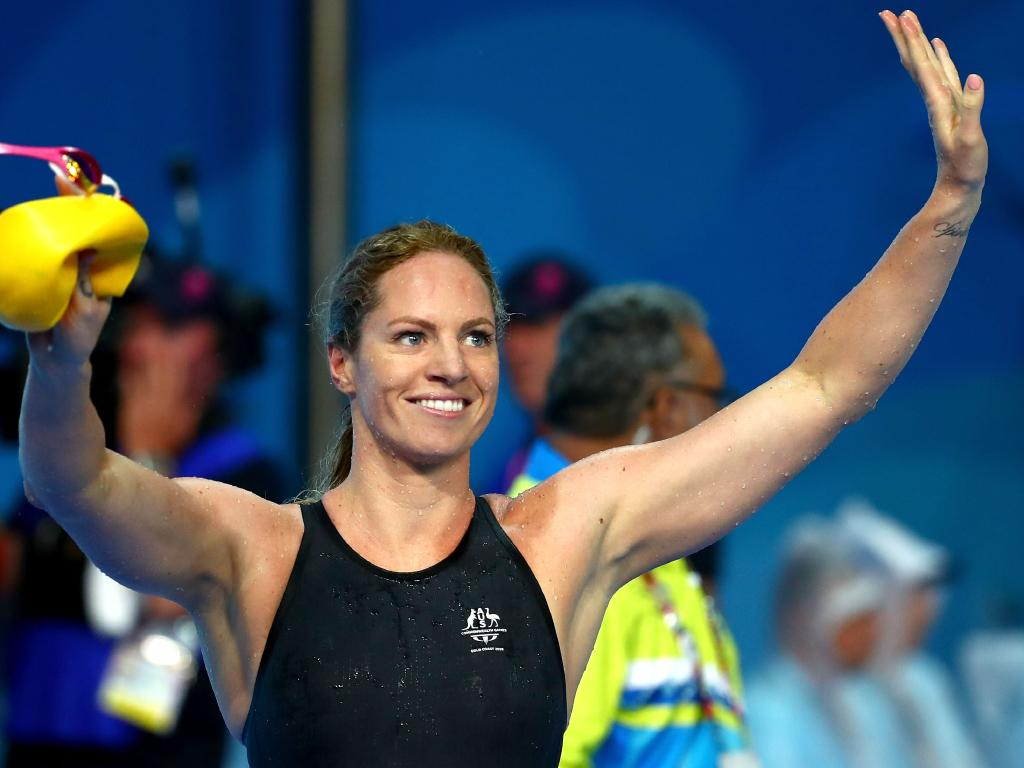 GOLD COAST, AUSTRALIA - APRIL 10: Emily Seebohm of Australia celebrates victory in the Women's 50m Backstroke Final on day six of the Gold Coast 2018 Commonwealth Games at Optus Aquatic Centre on April 10, 2018 on the Gold Coast, Australia. (Photo by Clive Rose/Getty Images)