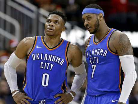 Oklahoma City Thunder guard Russell Westbrook and forward Carmelo Anthony.