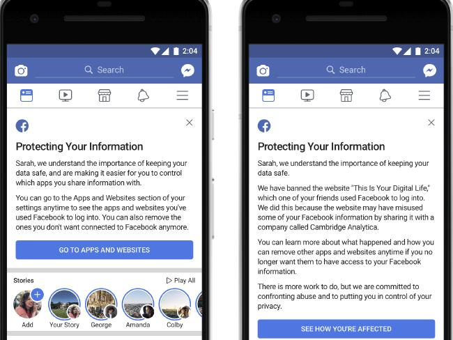 Facebook will let users know if their data was shared, and some 2.2 billion Facebook users will be given access to a link to see what apps they use and what information they shared with those apps. Picture: AP