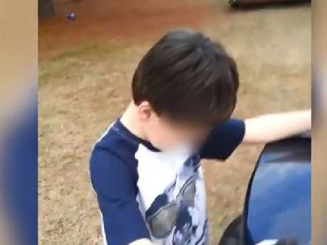 The mother of this little boy presented him with the PlayStation she'd bought him for Christmas before taking it straight back to the shop. Picture: The Sun