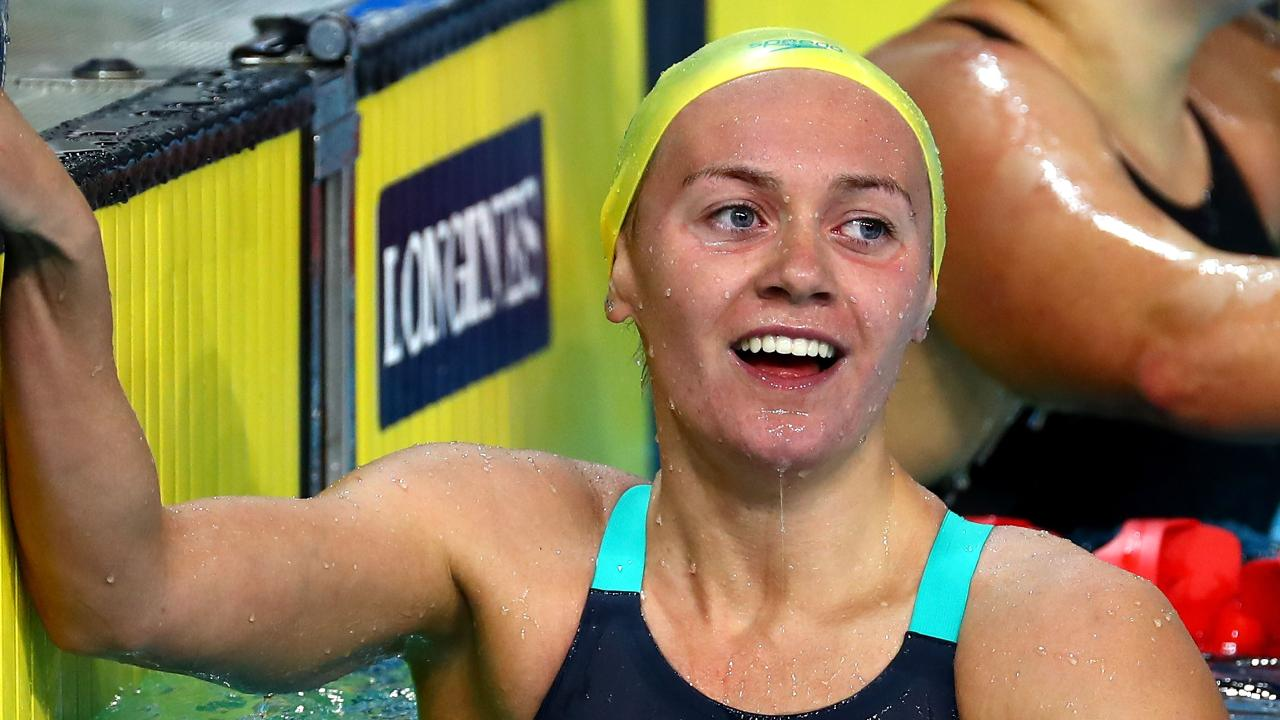 Teen sensation Ariarne Titmus celebrates her win in the 400m freestyle on Tuesday night.