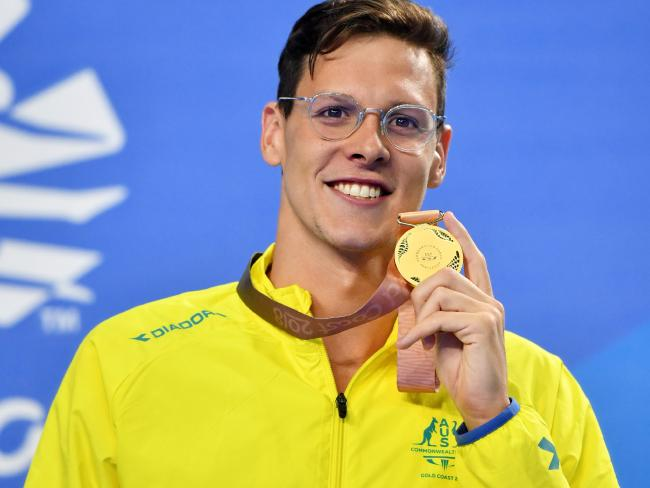 Gold medalist Mitch Larkin of Australia during the medal ceremony for the Men's 200m Individual Medley Final