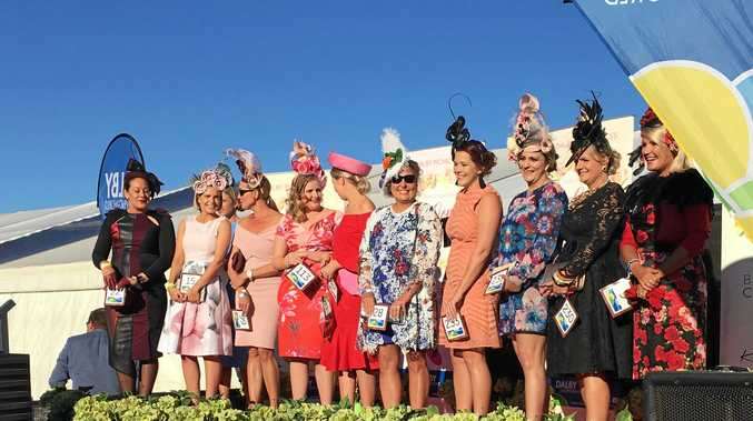 DRESSED UP: Fashions on the Field entrants at last year's Dalby Picnic Races.