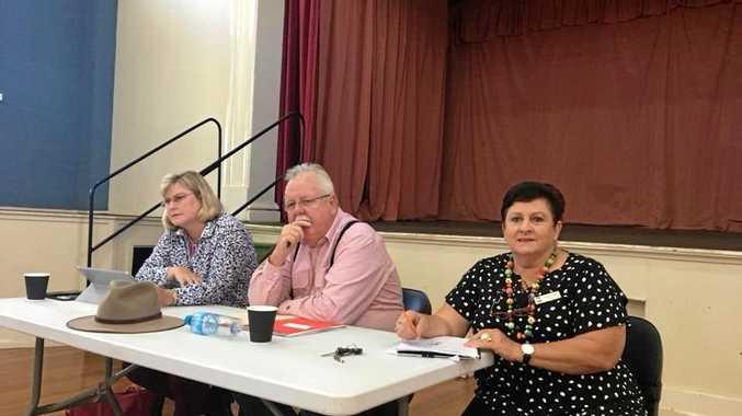 LISTENING: Warrego MP Ann Leahy with Senator Barry O'Sullivan and Murweh Mayor Annie Liston.