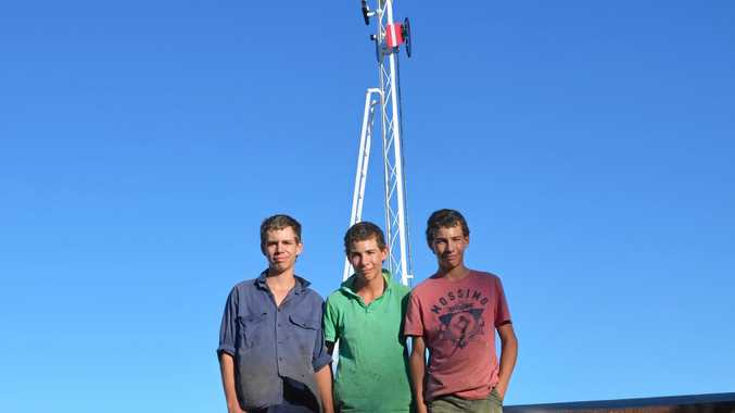 Jackson, Harrison and Lauchlan Kemp restored the signal tower at the Gayndah Railway Station.