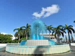 Why has the iconic Mackay city centre fountain turned blue?