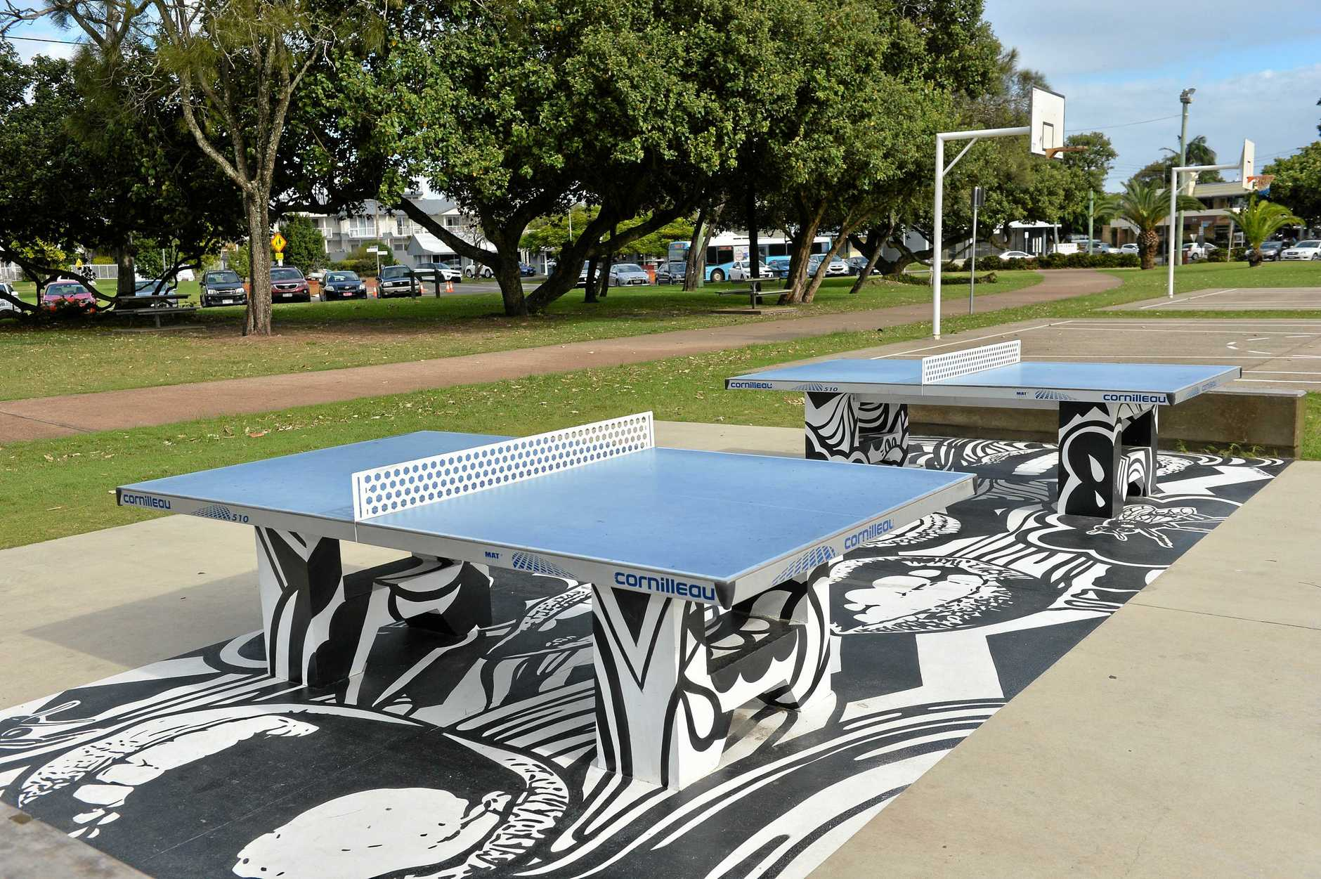 Good morning Cotton Tree. June 15, 2106. Ping pong tables at Cotton Tree Park.