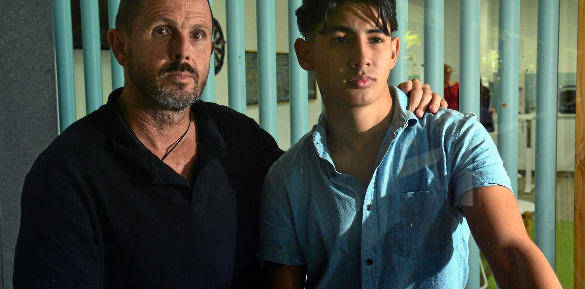 Peter Mulcahy and his son Taon Mulcahy, who was punched three to four times in Noosa nightclub the Rolling Rock, suffering multiple facial fractures. Two weeks after the attack police still have no suspects and the family fears the man will walk free.