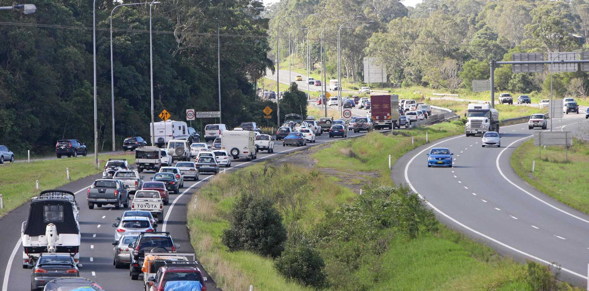 Traffic backed up on the Bruce Highway at Caloundra heading north.