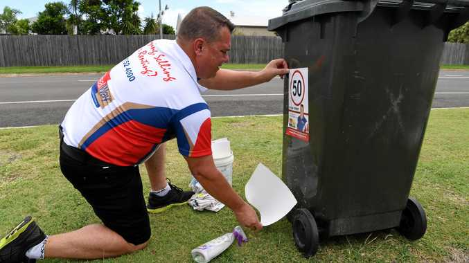 50 IN OUR STREET: Bargara resident Anthony Williamson has spent thousands of dollars in creating speed sign stickers that he is handing out to residents to place on their garbage bins, fences etc to help spread the message about what the speed is.