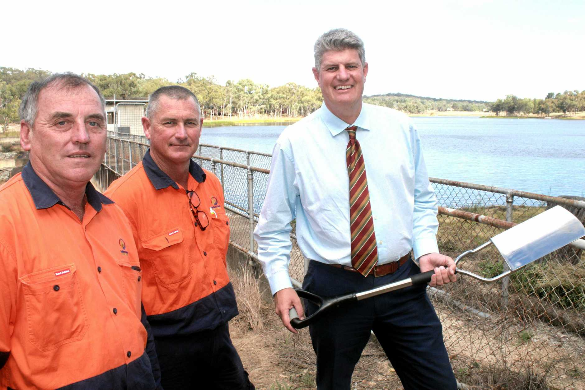 IN THE PIPELINE: Minister for Local Government, Racing and Multicultural Affairs Stirling Hinchliffe with Southern Downs Regional Council staffers Rod Wylie and Chris Witney at Storm King Dam.