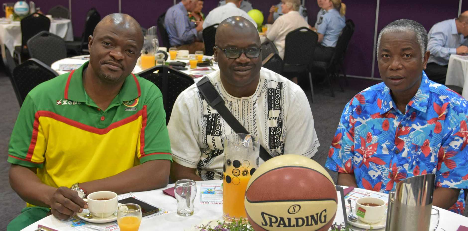 STUMPED: Cameroon representatives Yves Vincent Mpenekoul, Eric W. Binfon and Alphonse Benoit Essama visited Warwick last month with the Commonwealth Games team but are not among those who have fled.