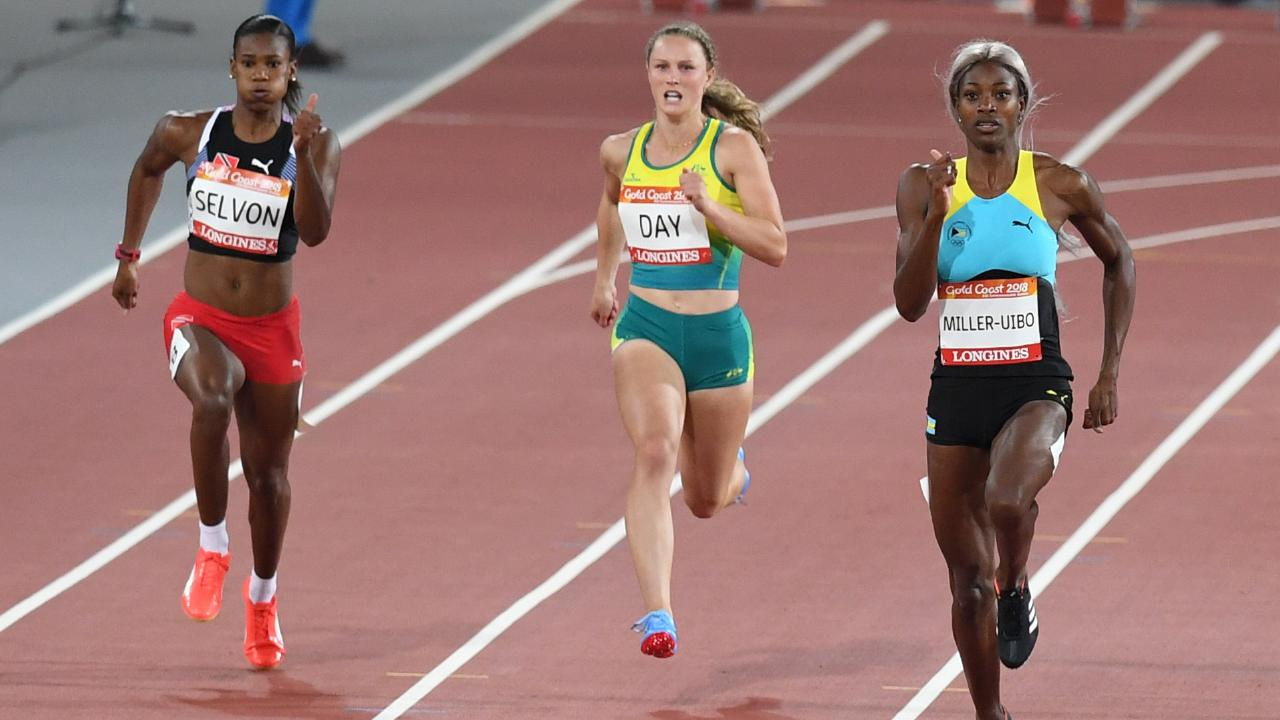 Riley Day of Australia in action in the womens 200m semi-final on day seven of competition at Carrara Stadium on the Gold Coast, Australia, Wednesday, April 11, 2018. (AAP Image/Dean Lewins) NO ARCHIVING, EDITORIAL USE ONLY
