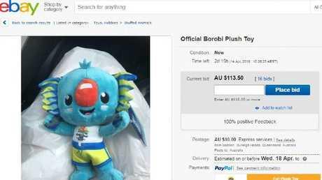 Borobi merchandise for sale on eBay at $113.50.