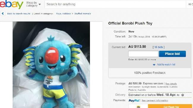 Borobi merchandise for sale on eBay at $113.50.