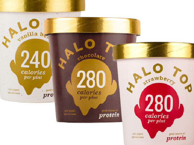 The Vanilla Bean, Chocolate and Strawberry Halo Top ice creams.