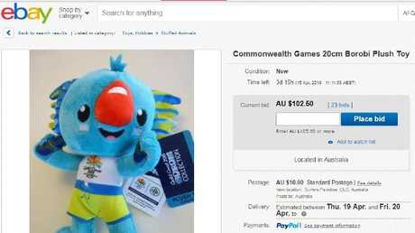 A 20cm Borobi has attracted 23 bids and reached $102.50 on eBay.