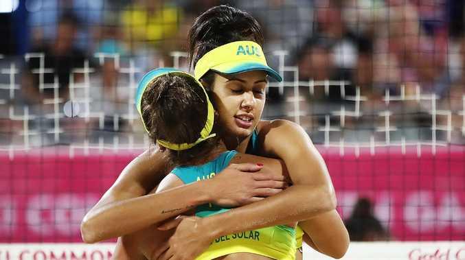 Mariafe Artacho del Solar and Taliqua Clancy celebrate winning their semi-final against Vanuatu.