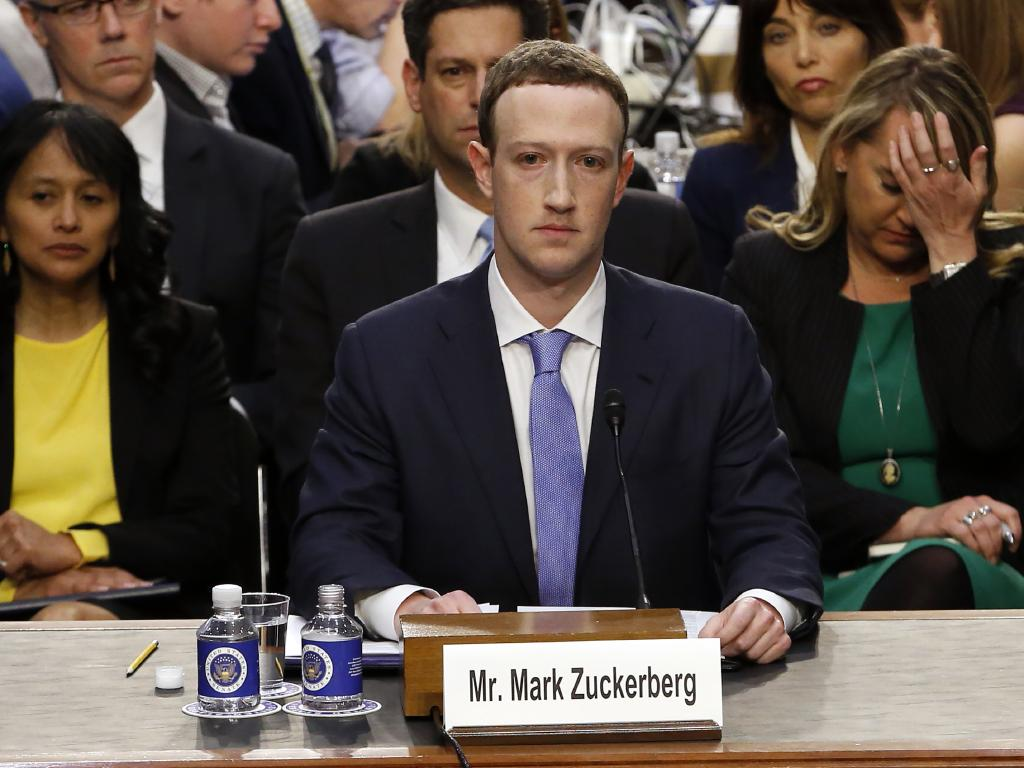 Mark Zuckerberg, Co-Founder and CEO of Facebook, testifies before a joint meeting of the United States Senate Committee on the Judiciary and the US Senate Committee on Commerce, Science, and Transportation. Picture: Alex Brandon/CNP/MEGA.
