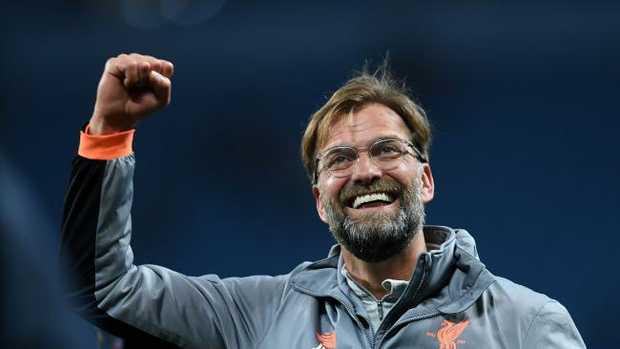 Liverpool's German manager Jurgen Klopp celebrates victory over Manchester City