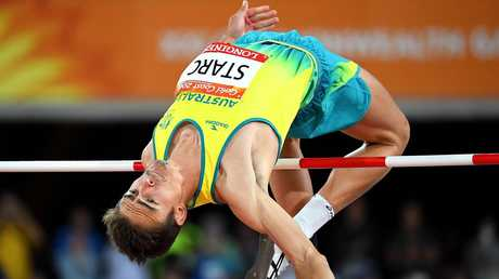 Australia's Brandon Starc on his way to winning gold in the high jump on Wednesday night.