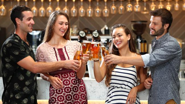 Friends, Roger David, Anna Shevel, Luiza Falkenbach and Rodrigo Lima enjoying a drink of Great Northern beer at the QA Hotel in Fortitude Valley. (Pic: Peter Wallis)