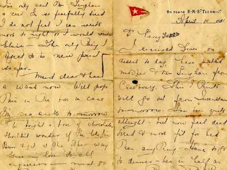 The letter from Kate Buss to her brother Percy James gives an intimate look at what life was like on the Titanic. Picture: Henry Alridge & Son
