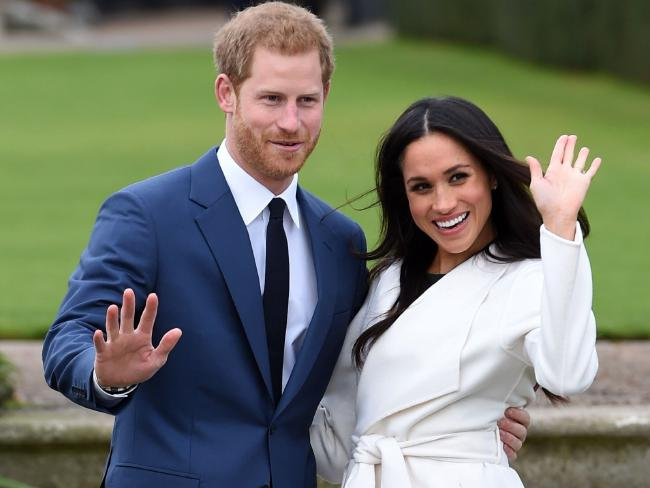 Prince Harry and Meghan Markle at Kensington Palace in London. The royal nuptials will take place on Saturday, May 19. Picture: AP