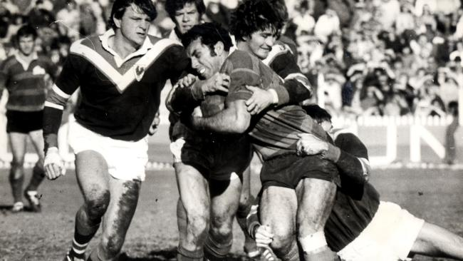 John Sattler with the ball for Souths in 1972.