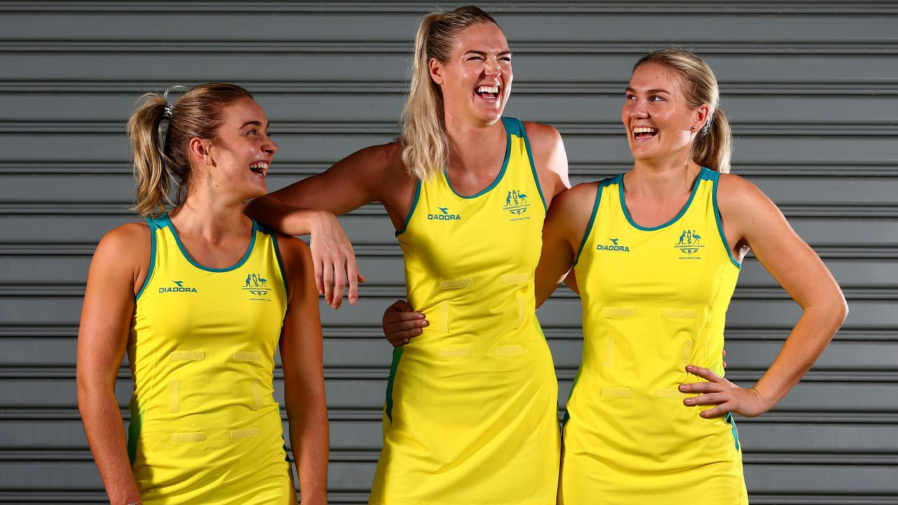 Liz Watson, Caitlin Bassett, and Courtney Bruce enjoy a laugh together. Pic Adam Head